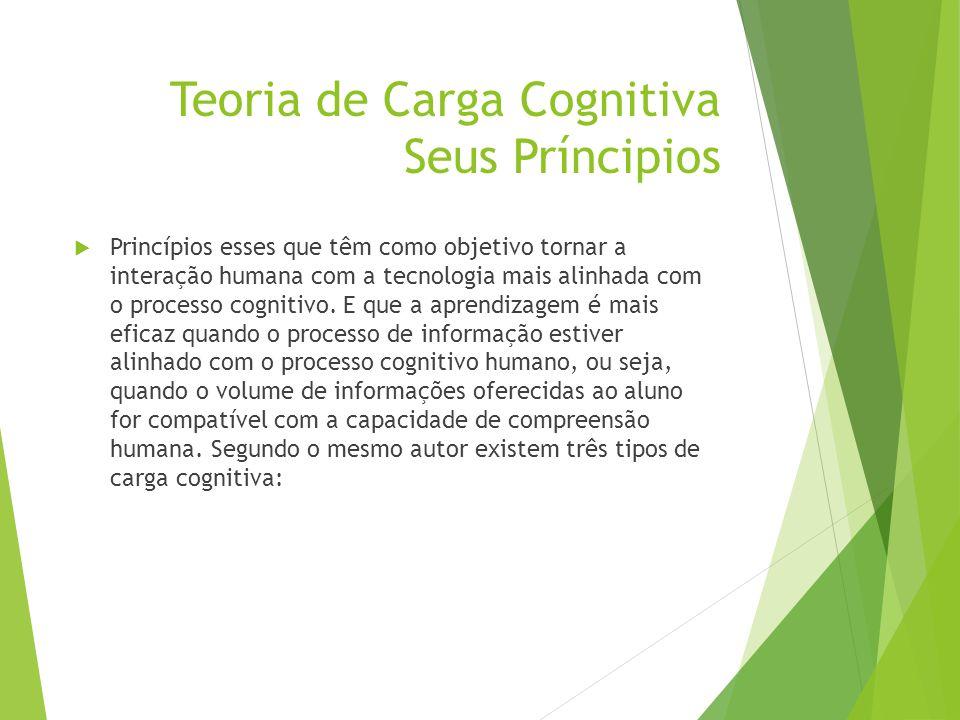 Teoria de Carga Cognitiva Seus Príncipios  Princípios esses que têm como objetivo tornar a interação humana com a tecnologia mais alinhada com o proc