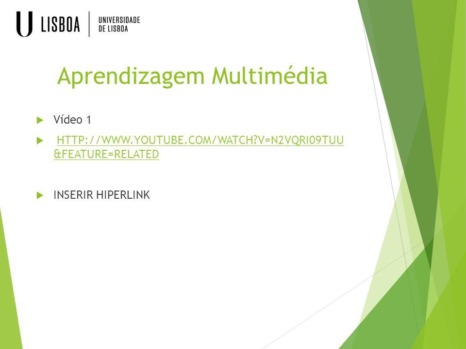 Aprendizagem Multimédia  Vídeo 1  HTTP://WWW.YOUTUBE.COM/WATCH?V=N2VQRI09TUU &FEATURE=RELATED HTTP://WWW.YOUTUBE.COM/WATCH?V=N2VQRI09TUU &FEATURE=RE
