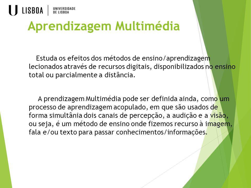 Aprendizagem Multimédia Estuda os efeitos dos métodos de ensino/aprendizagem lecionados através de recursos digitais, disponibilizados no ensino total