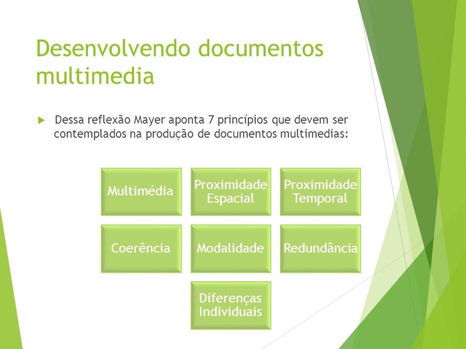 Desenvolvendo documentos multimedia  Dessa reflexão Mayer aponta 7 princípios que devem ser contemplados na produção de documentos multimedias: Multi