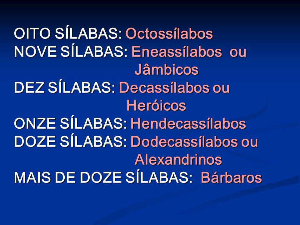 OITO SÍLABAS: Octossílabos NOVE SÍLABAS: Eneassílabos ou Jâmbicos Jâmbicos DEZ SÍLABAS: Decassílabos ou Heróicos Heróicos ONZE SÍLABAS: Hendecassílabos DOZE SÍLABAS: Dodecassílabos ou Alexandrinos Alexandrinos MAIS DE DOZE SÍLABAS: Bárbaros