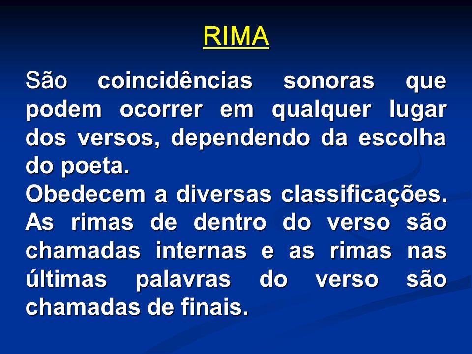 RIMA São coincidências sonoras que podem ocorrer em qualquer lugar dos versos, dependendo da escolha do poeta.