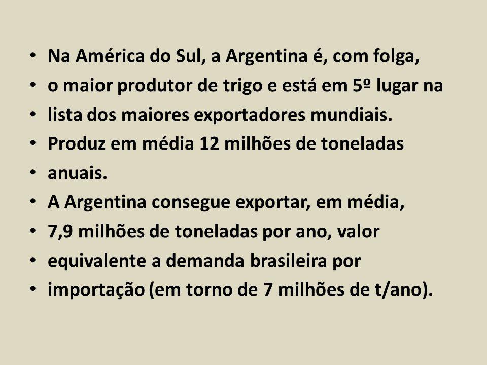 Na América do Sul, a Argentina é, com folga, o maior produtor de trigo e está em 5º lugar na lista dos maiores exportadores mundiais. Produz em média