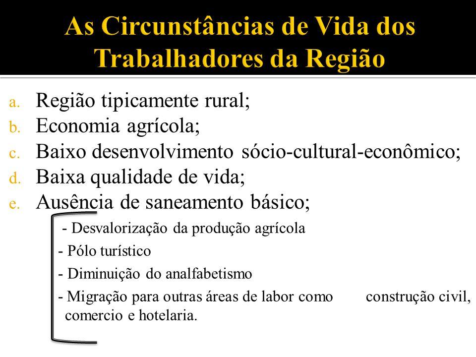 a. Região tipicamente rural; b. Economia agrícola; c. Baixo desenvolvimento sócio-cultural-econômico; d. Baixa qualidade de vida; e. Ausência de sanea