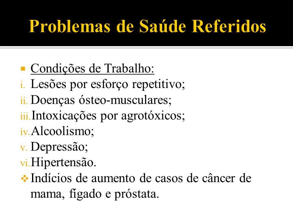  Condições de Trabalho: i. Lesões por esforço repetitivo; ii. Doenças ósteo-musculares; iii. Intoxicações por agrotóxicos; iv. Alcoolismo; v. Depress