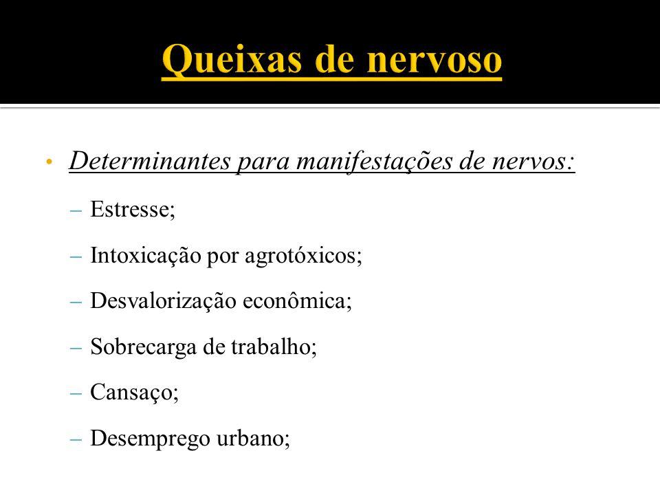 Determinantes para manifestações de nervos: – Estresse; – Intoxicação por agrotóxicos; – Desvalorização econômica; – Sobrecarga de trabalho; – Cansaço; – Desemprego urbano;