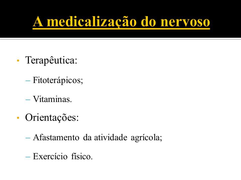 Terapêutica: – Fitoterápicos; – Vitaminas. Orientações: – Afastamento da atividade agrícola; – Exercício físico.