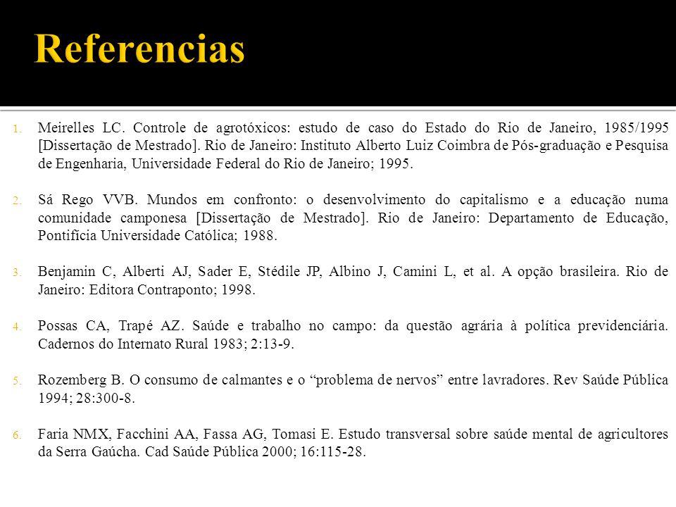 1. Meirelles LC. Controle de agrotóxicos: estudo de caso do Estado do Rio de Janeiro, 1985/1995 [Dissertação de Mestrado]. Rio de Janeiro: Instituto A