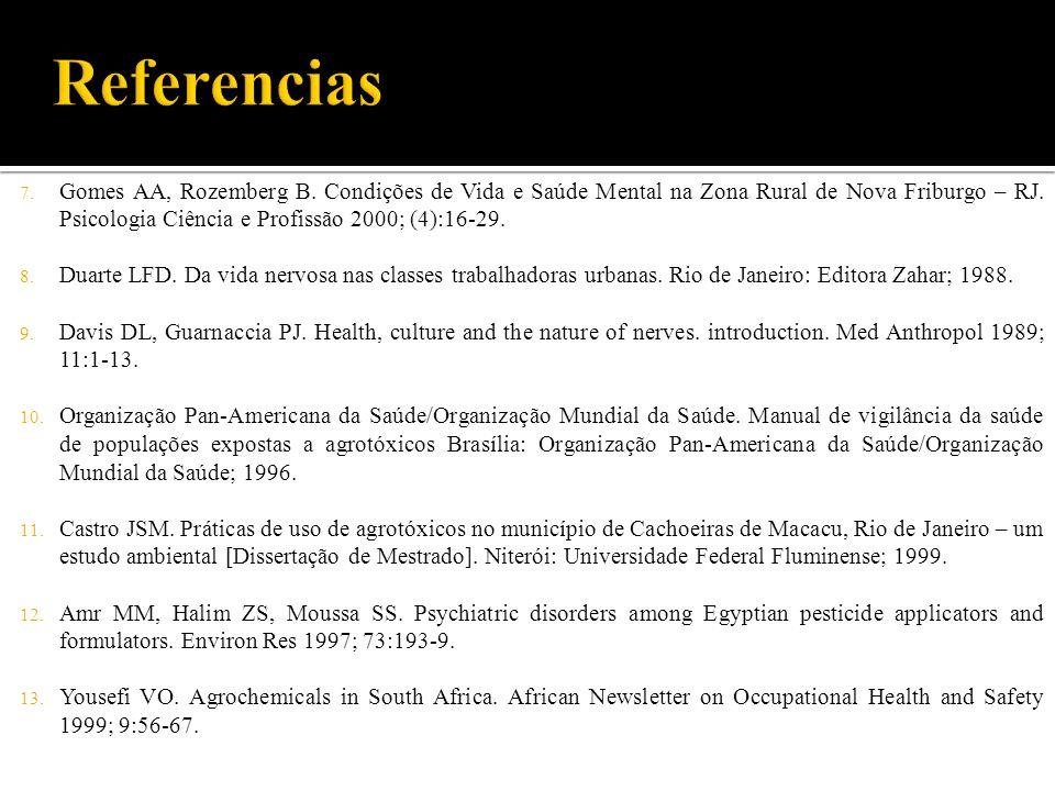 7. Gomes AA, Rozemberg B. Condições de Vida e Saúde Mental na Zona Rural de Nova Friburgo – RJ. Psicologia Ciência e Profissão 2000; (4):16-29. 8. Dua