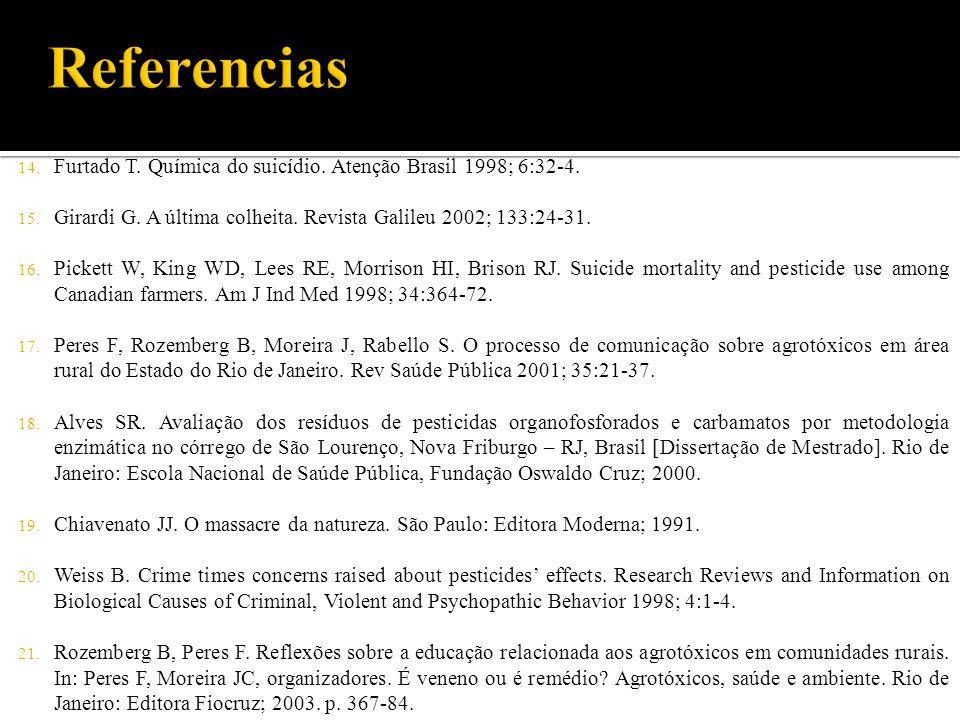 14. Furtado T. Química do suicídio. Atenção Brasil 1998; 6:32-4. 15. Girardi G. A última colheita. Revista Galileu 2002; 133:24-31. 16. Pickett W, Kin