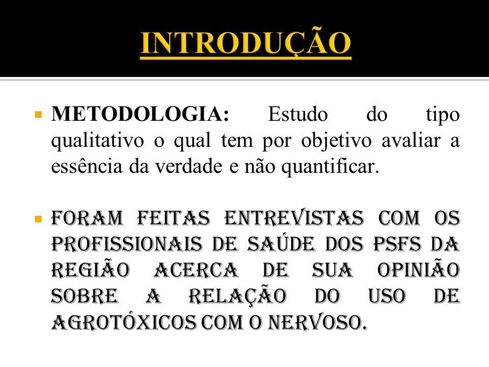  METODOLOGIA: Estudo do tipo qualitativo o qual tem por objetivo avaliar a essência da verdade e não quantificar.