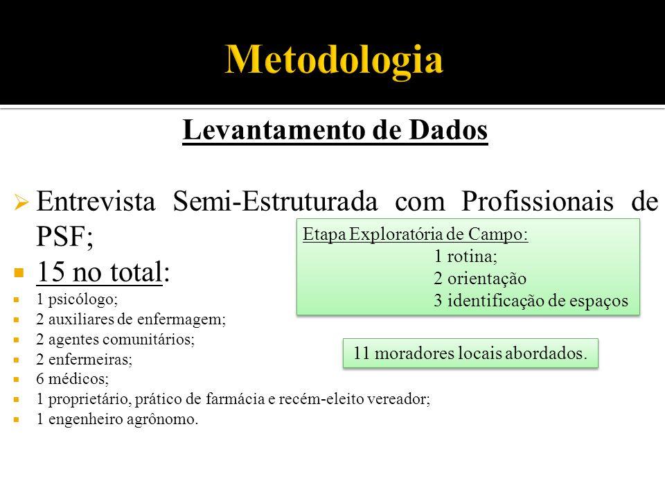 Levantamento de Dados  Entrevista Semi-Estruturada com Profissionais de PSF;  15 no total:  1 psicólogo;  2 auxiliares de enfermagem;  2 agentes