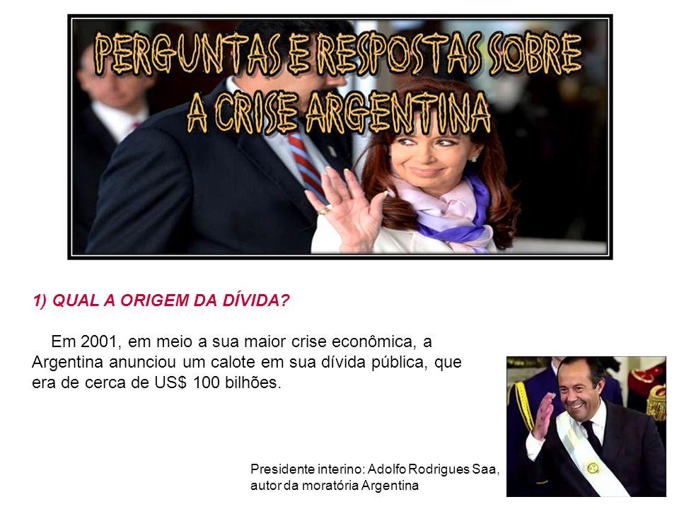 1) QUAL A ORIGEM DA DÍVIDA? Em 2001, em meio a sua maior crise econômica, a Argentina anunciou um calote em sua dívida pública, que era de cerca de US