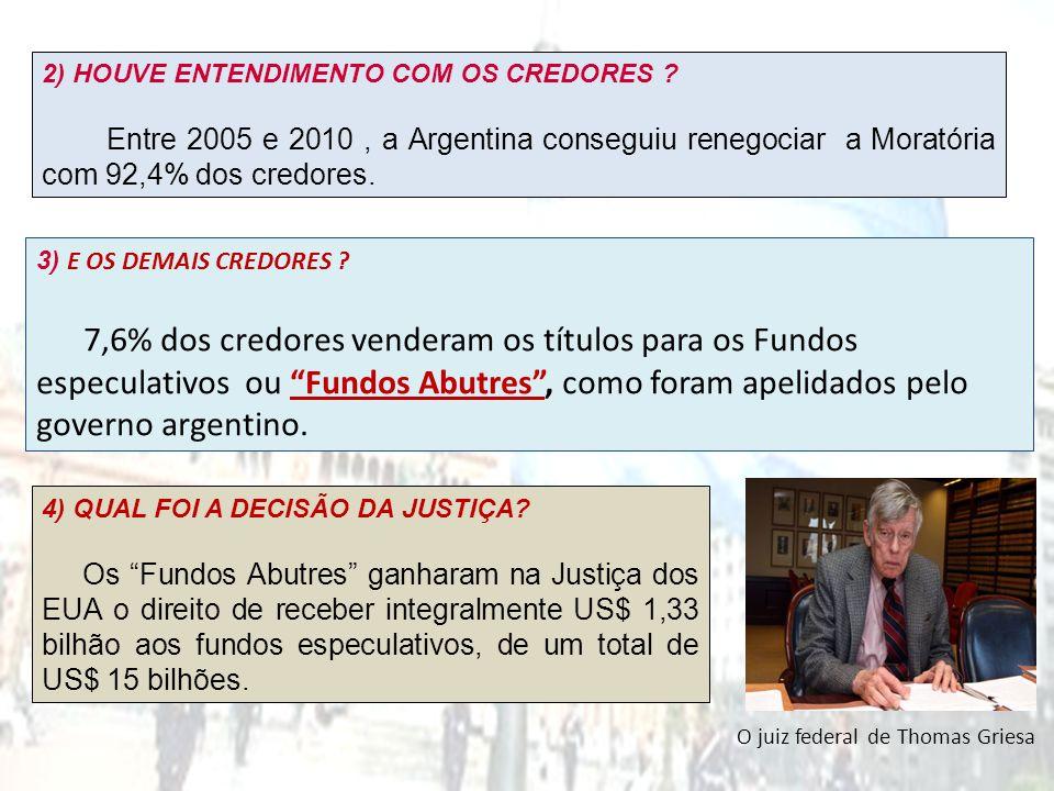 2) HOUVE ENTENDIMENTO COM OS CREDORES ? Entre 2005 e 2010, a Argentina conseguiu renegociar a Moratória com 92,4% dos credores. 3) E OS DEMAIS CREDORE