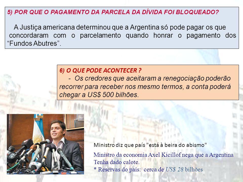 Ministro da economia Axel Kicillof nega que a Argentina Tenha dado calote. * Reservas do país: cerca de US$ 28 bilhões 5) POR QUE O PAGAMENTO DA PARCE