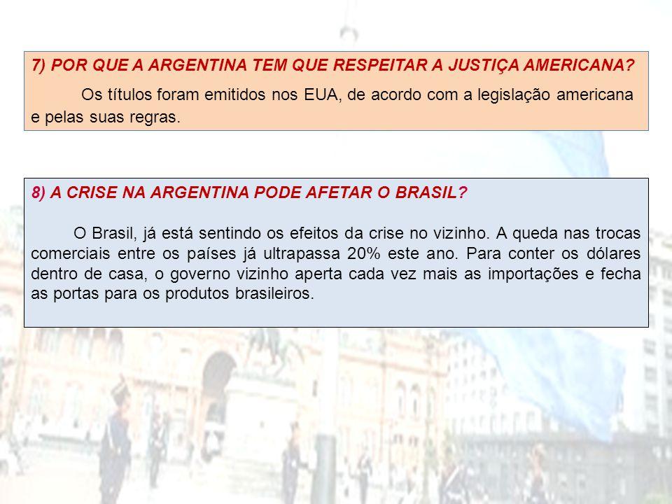 8) A CRISE NA ARGENTINA PODE AFETAR O BRASIL? O Brasil, já está sentindo os efeitos da crise no vizinho. A queda nas trocas comerciais entre os países