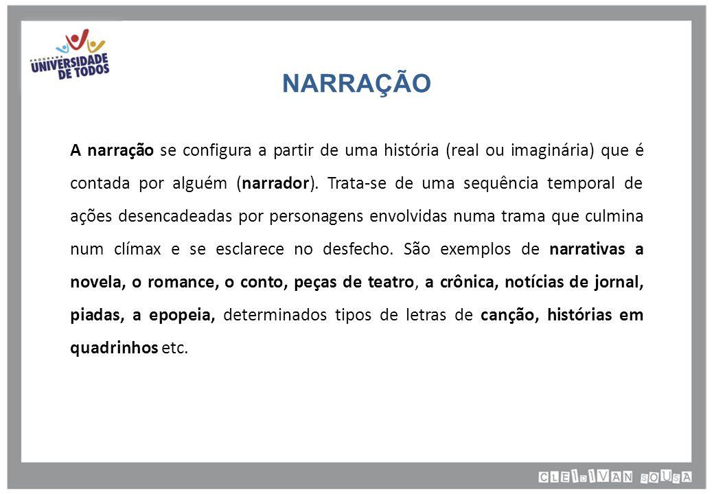 NARRAÇÃO A narração se configura a partir de uma história (real ou imaginária) que é contada por alguém (narrador).