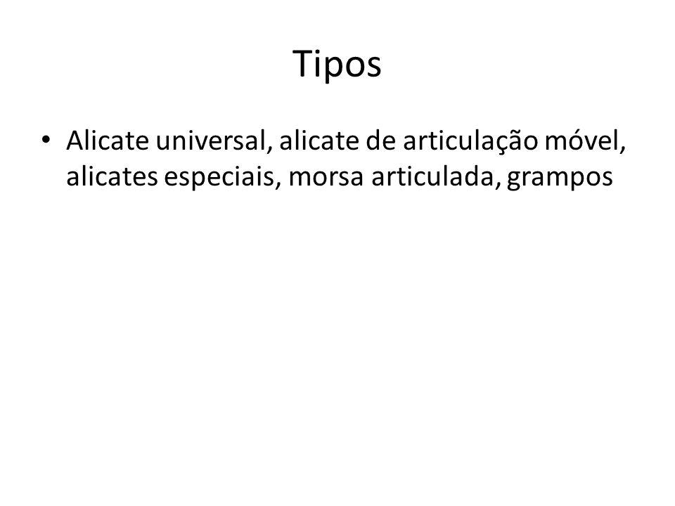 Tipos Alicate universal, alicate de articulação móvel, alicates especiais, morsa articulada, grampos