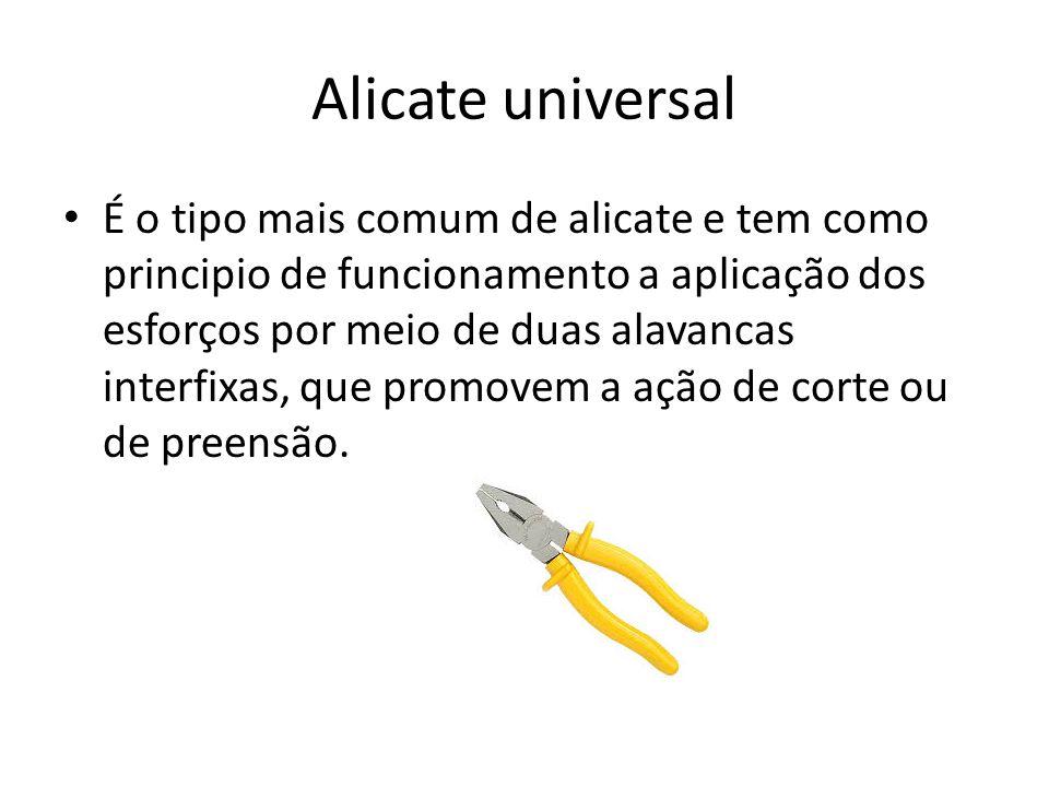 Alicate universal É o tipo mais comum de alicate e tem como principio de funcionamento a aplicação dos esforços por meio de duas alavancas interfixas, que promovem a ação de corte ou de preensão.