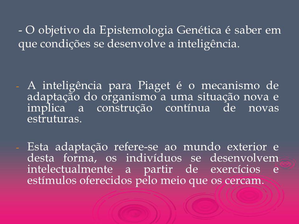 - O objetivo da Epistemologia Genética é saber em que condições se desenvolve a inteligência. - - A inteligência para Piaget é o mecanismo de adaptaçã