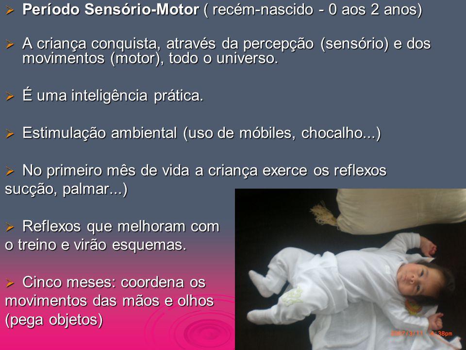  Período Sensório-Motor ( recém-nascido - 0 aos 2 anos)  A criança conquista, através da percepção (sensório) e dos movimentos (motor), todo o unive