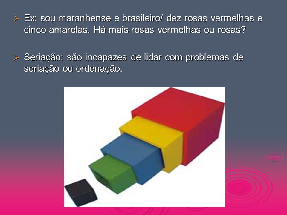  Ex: sou maranhense e brasileiro/ dez rosas vermelhas e cinco amarelas. Há mais rosas vermelhas ou rosas?  Seriação: são incapazes de lidar com prob
