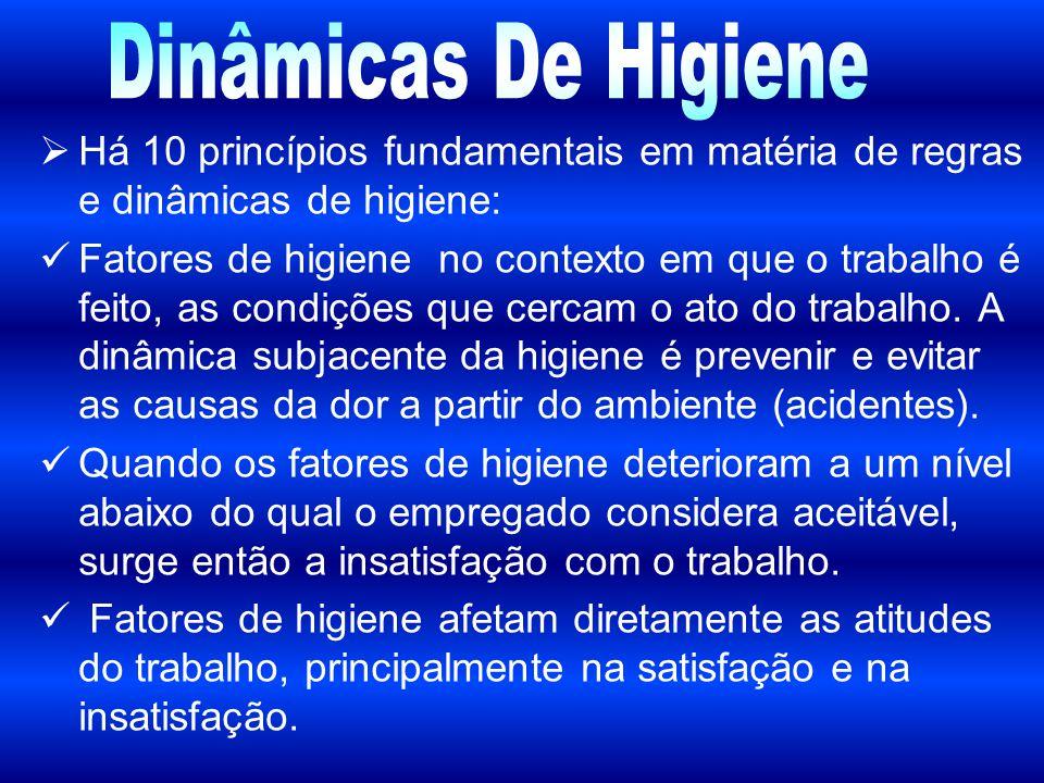  Há 10 princípios fundamentais em matéria de regras e dinâmicas de higiene: Fatores de higiene no contexto em que o trabalho é feito, as condições qu