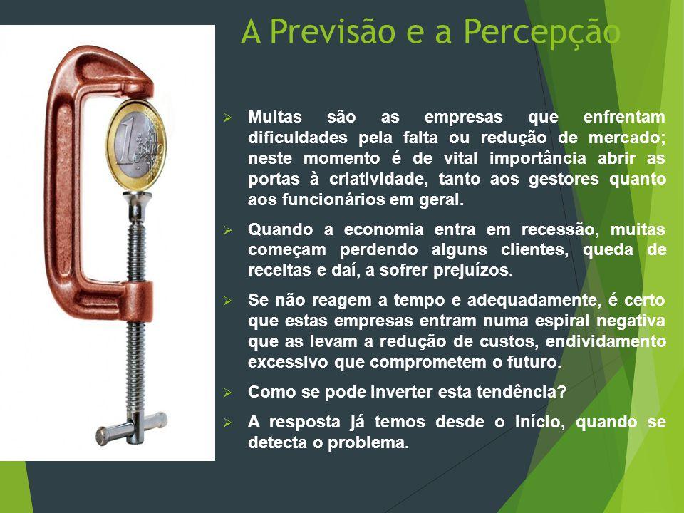 A Previsão e a Percepção  Muitas são as empresas que enfrentam dificuldades pela falta ou redução de mercado; neste momento é de vital importância ab