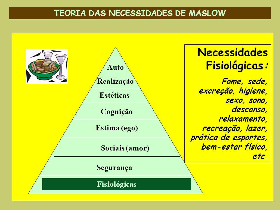 TEORIA DAS NECESSIDADES DE MASLOW Necessidades Fisiológicas: Fome, sede, excreção, higiene, sexo, sono, descanso, relaxamento, recreação, lazer, práti