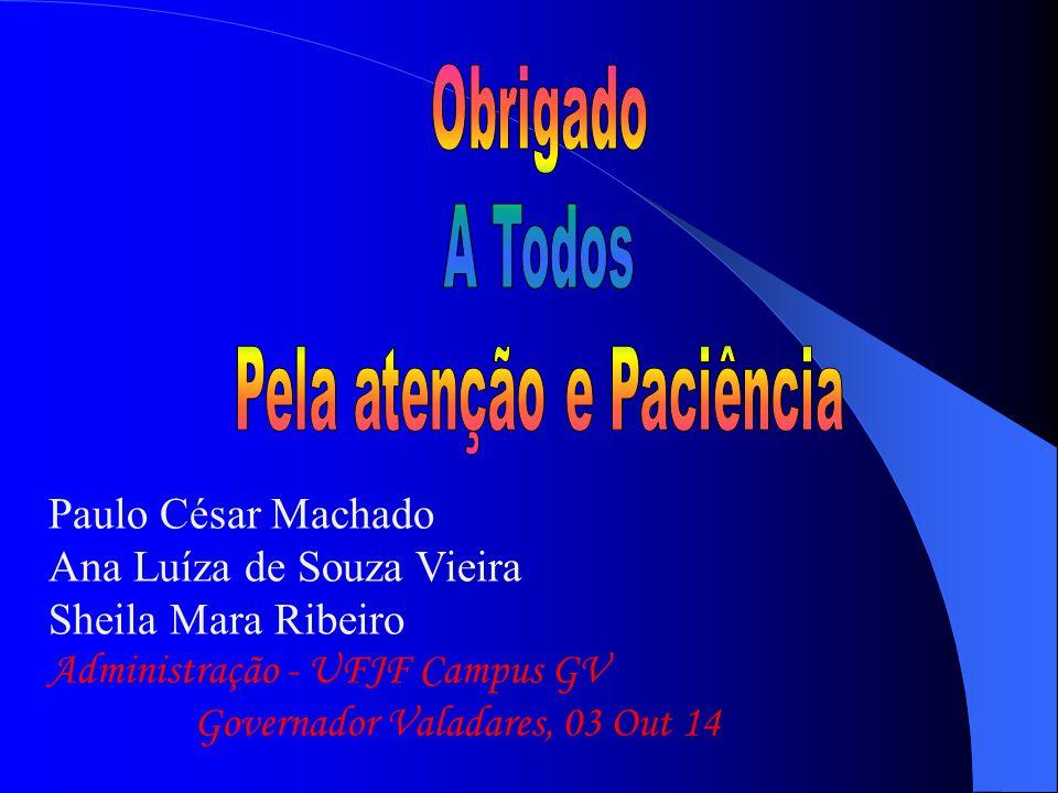 Paulo César Machado Ana Luíza de Souza Vieira Sheila Mara Ribeiro Administração - UFJF Campus GV Governador Valadares, 03 Out 14