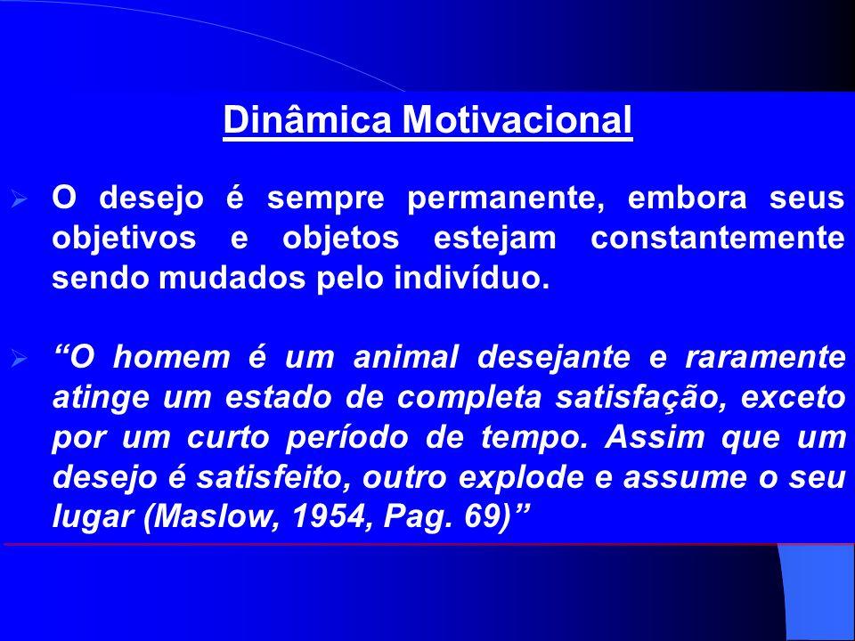 """Dinâmica Motivacional  O desejo é sempre permanente, embora seus objetivos e objetos estejam constantemente sendo mudados pelo indivíduo.  """"O homem"""
