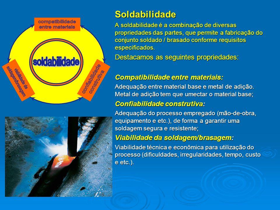 Soldabilidade A soldabilidade é a combinação de diversas propriedades das partes, que permite a fabricação do conjunto soldado / brasado conforme requ