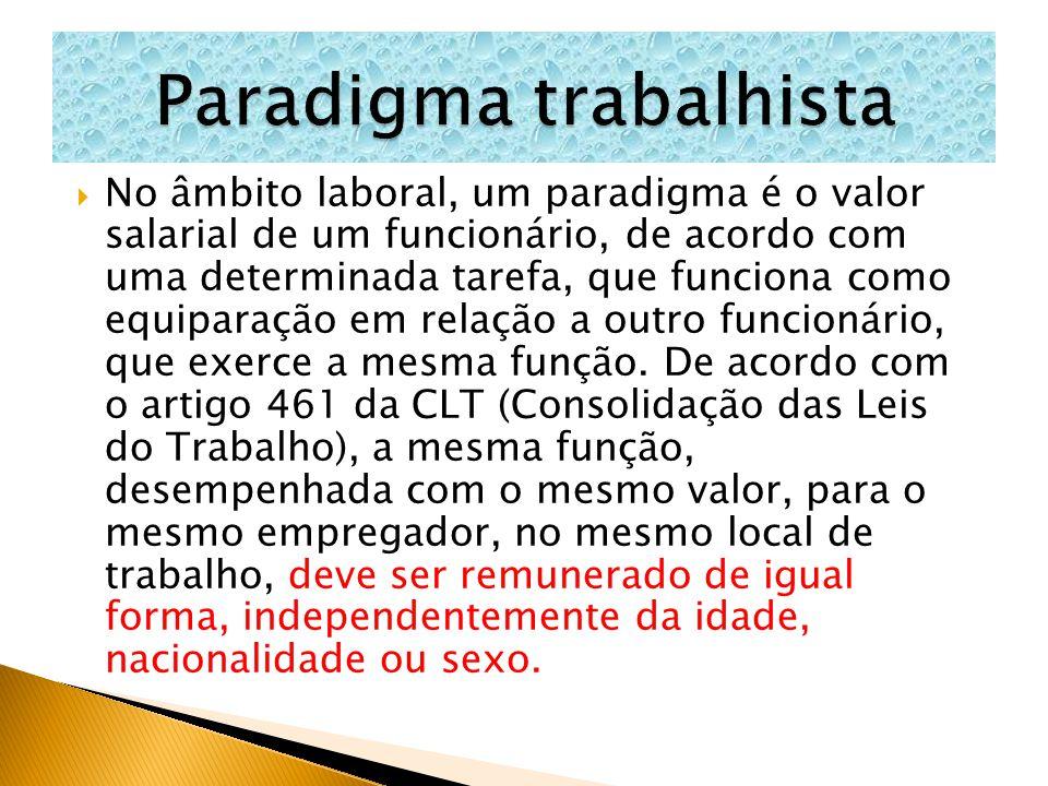  No âmbito laboral, um paradigma é o valor salarial de um funcionário, de acordo com uma determinada tarefa, que funciona como equiparação em relação