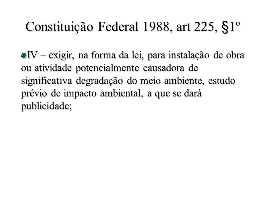 IV – exigir, na forma da lei, para instalação de obra ou atividade potencialmente causadora de significativa degradação do meio ambiente, estudo prévio de impacto ambiental, a que se dará publicidade; Constituição Federal 1988, art 225, §1º