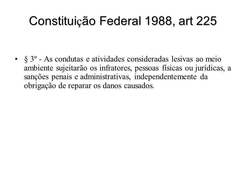 Constitui ç ão Federal 1988, art 225 § 3º - As condutas e atividades consideradas lesivas ao meio ambiente sujeitarão os infratores, pessoas físicas o