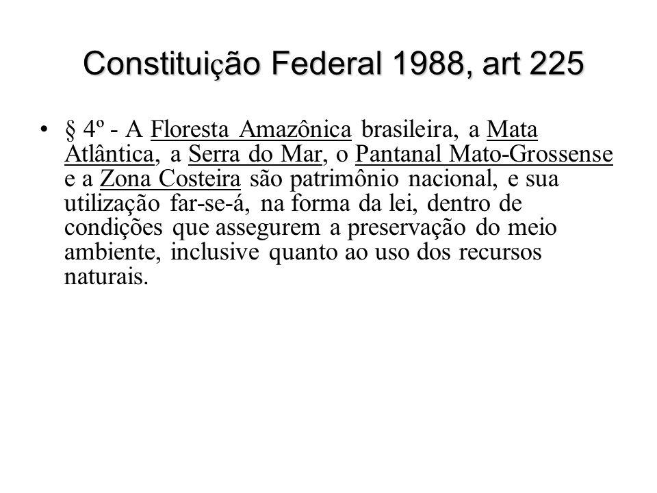 Constitui ç ão Federal 1988, art 225 § 4º - A Floresta Amazônica brasileira, a Mata Atlântica, a Serra do Mar, o Pantanal Mato-Grossense e a Zona Cost