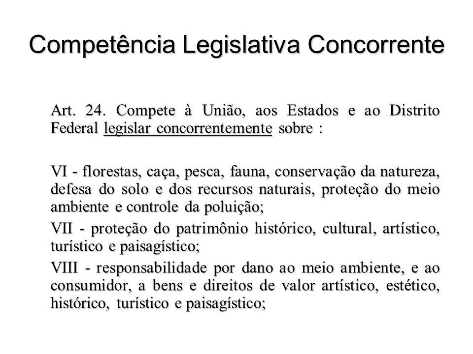 Competência Legislativa Concorrente Art. 24. Compete à União, aos Estados e ao Distrito Federal legislar concorrentemente sobre : VI - florestas, caça