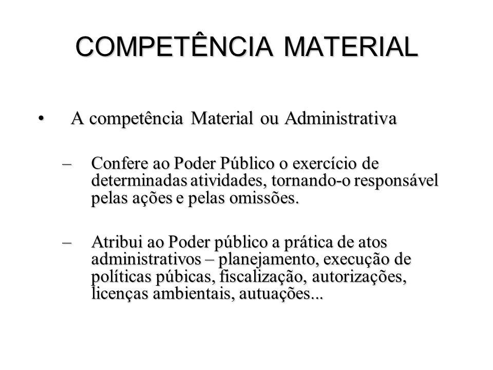 COMPETÊNCIA MATERIAL A competência Material ou AdministrativaA competência Material ou Administrativa –Confere ao Poder Público o exercício de determi
