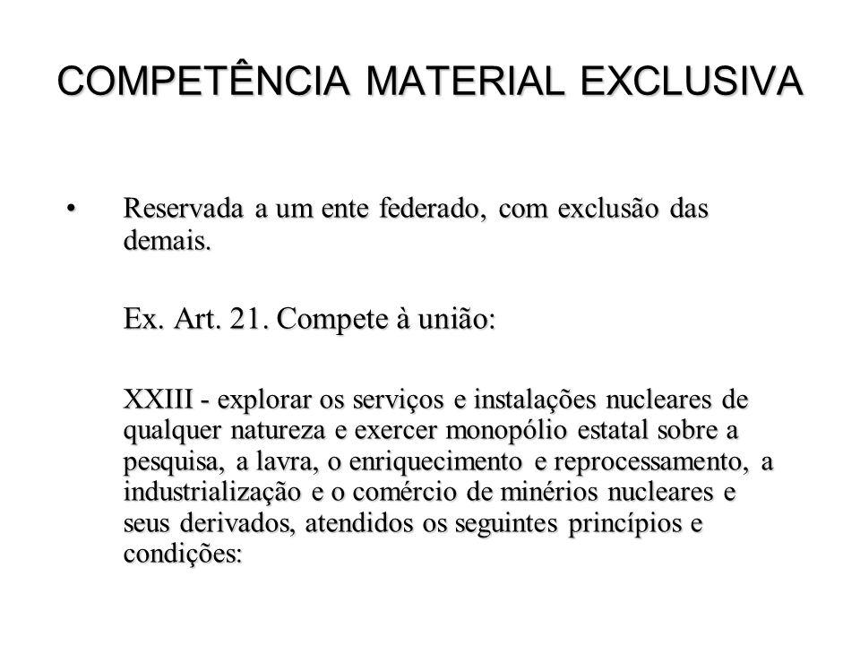 COMPETÊNCIA MATERIAL EXCLUSIVA Reservada a um ente federado, com exclusão das demais.Reservada a um ente federado, com exclusão das demais. Ex. Art. 2