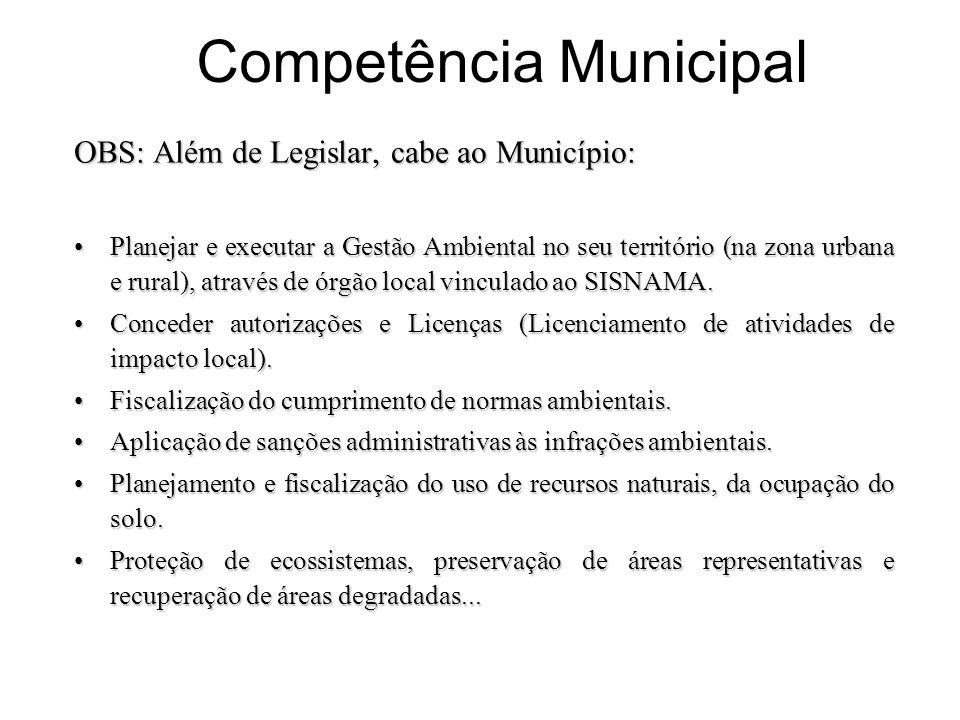 Competência Municipal OBS: Além de Legislar, cabe ao Município: Planejar e executar a Gestão Ambiental no seu território (na zona urbana e rural), atr