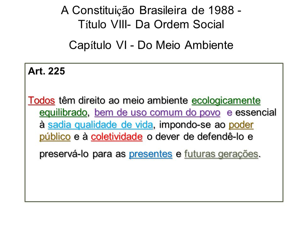 A Constitui ç ão Brasileira de 1988 - T í tulo VIII- Da Ordem Social Cap í tulo VI - Do Meio Ambiente Art. 225 Todos têm direito ao meio ambiente ecol