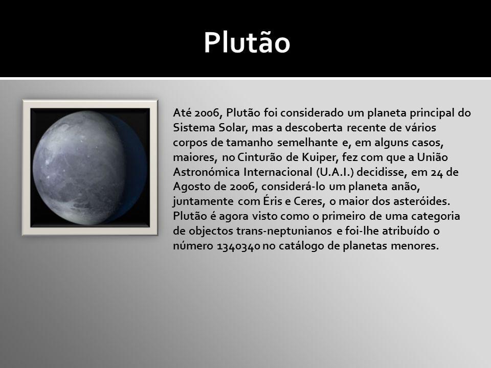 Até 2006, Plutão foi considerado um planeta principal do Sistema Solar, mas a descoberta recente de vários corpos de tamanho semelhante e, em alguns casos, maiores, no Cinturão de Kuiper, fez com que a União Astronómica Internacional (U.A.I.) decidisse, em 24 de Agosto de 2006, considerá-lo um planeta anão, juntamente com Éris e Ceres, o maior dos asteróides.