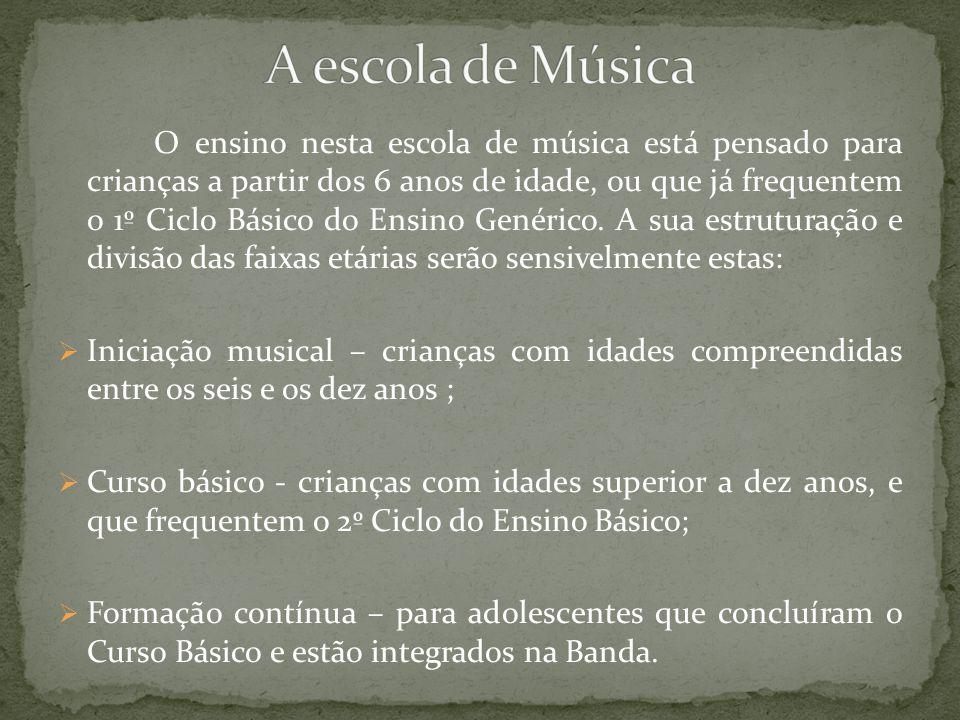 O ensino nesta escola de música está pensado para crianças a partir dos 6 anos de idade, ou que já frequentem o 1º Ciclo Básico do Ensino Genérico. A