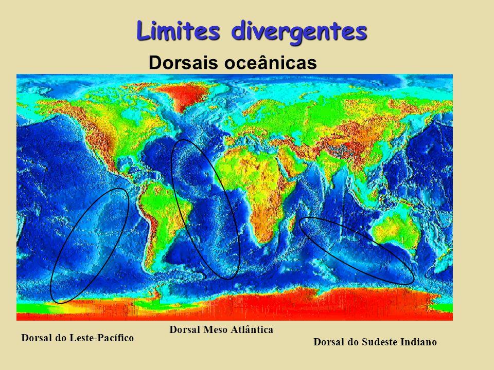 Limites divergentes Dorsais oceânicas Dorsal do Leste-Pacífico Dorsal Meso Atlântica Dorsal do Sudeste Indiano