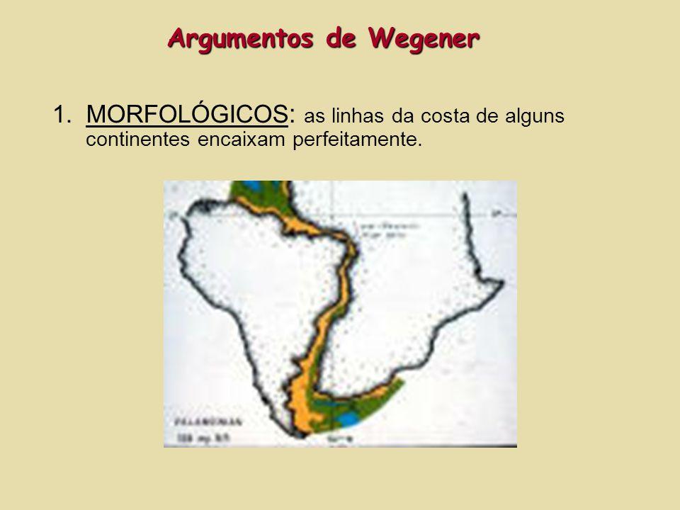 1.MORFOLÓGICOS : as linhas da costa de alguns continentes encaixam perfeitamente. Argumentos de Wegener