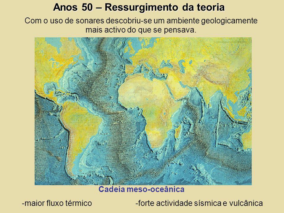 Anos 50 – Ressurgimento da teoria Com o uso de sonares descobriu-se um ambiente geologicamente mais activo do que se pensava. Cadeia meso-oceânica -ma