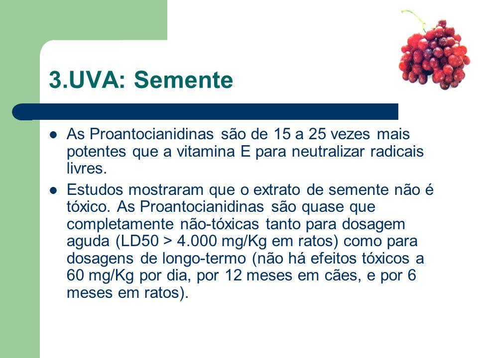 3.UVA: Semente As Proantocianidinas são de 15 a 25 vezes mais potentes que a vitamina E para neutralizar radicais livres. Estudos mostraram que o extr