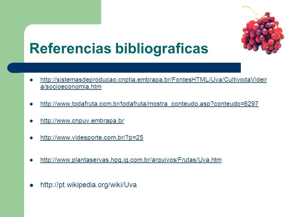 Referencias bibliograficas http://sistemasdeproducao.cnptia.embrapa.br/FontesHTML/Uva/CultivodaVideir a/socioeconomia.htm http://sistemasdeproducao.cn