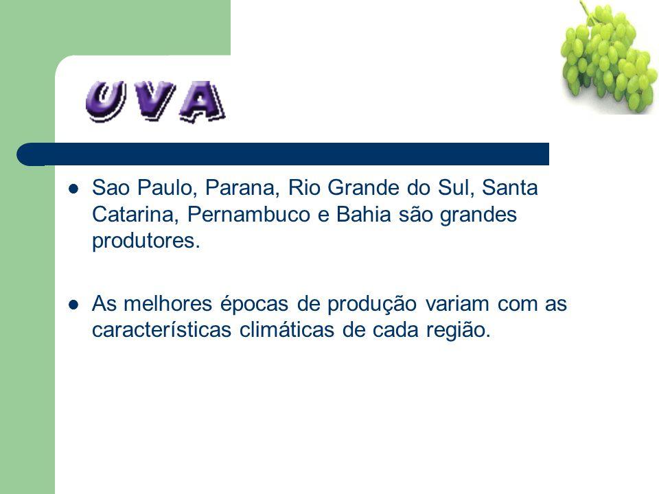 Sao Paulo, Parana, Rio Grande do Sul, Santa Catarina, Pernambuco e Bahia são grandes produtores. As melhores épocas de produção variam com as caracter