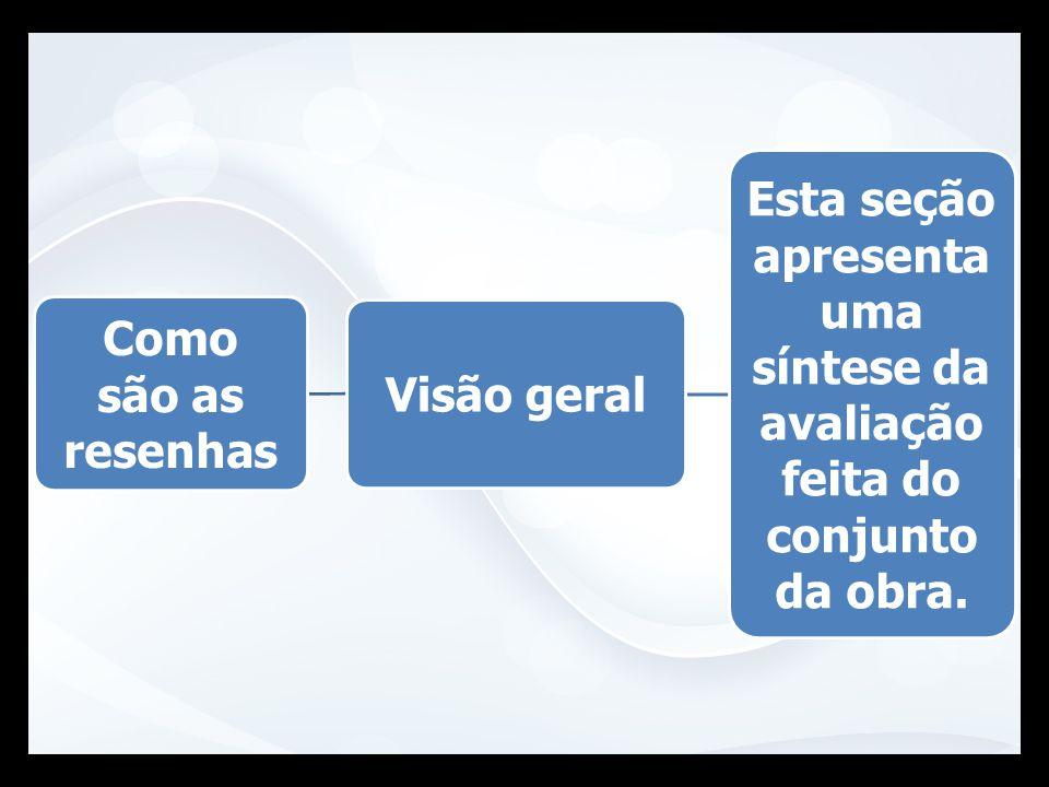 Esta seção apresenta uma síntese da avaliação feita do conjunto da obra. Como são as resenhas Visão geral